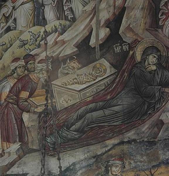 Монастырь Ватопед. Фреска в Кафоликоне обители. 1312 г.