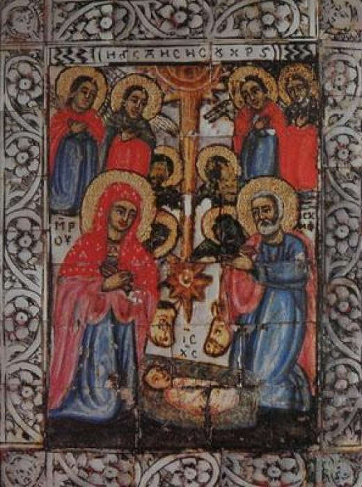 Монастырь Дионисиат. Переносная икона Рождества Христова конца 18 в. (фрагмент 10,5x12,0 см)
