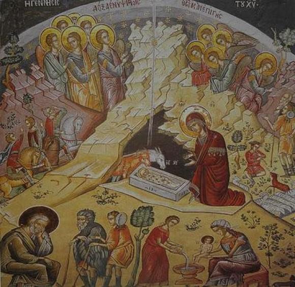Монастырь Дохиар. Рождество Христово. Кафоликон обители. Фреска 1568 г.