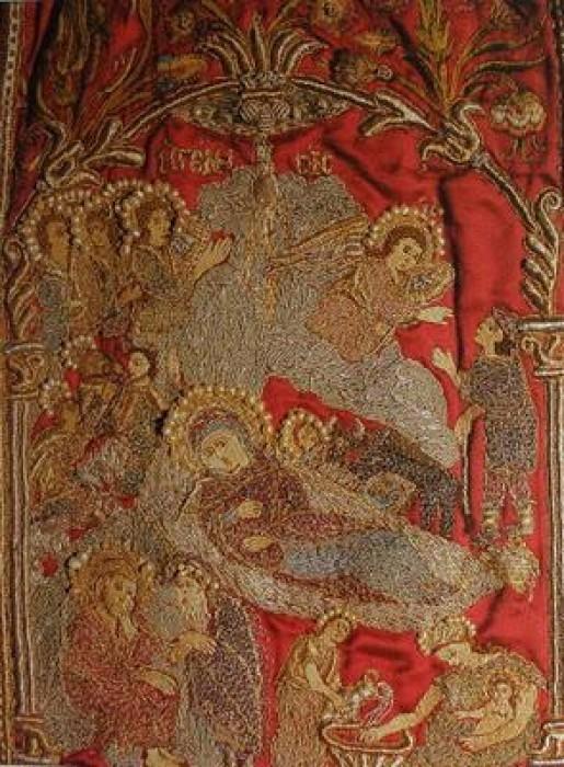 Монастырь Ивирон. Епитрахиль, 1672 г. (фрагмент 15x22 см)