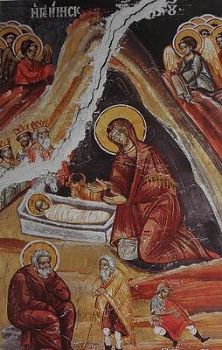 Монастырь Каракал. Рождество Христово. Фреска, 1768 г.
