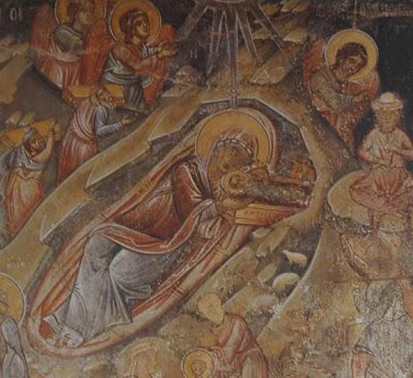 Монастырь Ксенофонт. Фреска в трапезной обители. 1479 г.