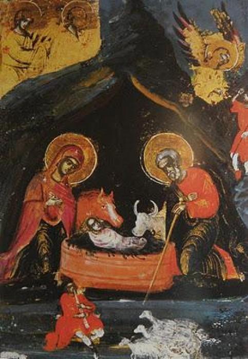 Монастырь Хилендар. Фрагмент иконы Пресвятой Богородицы в иконостасе кафоликона