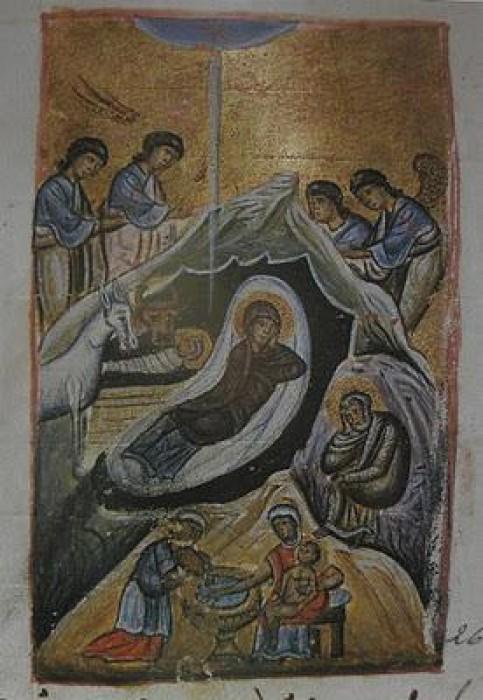 Монастырь Эсфигмен. Миниатюра из рукописи 11-12 вв.