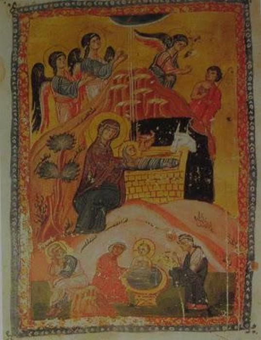Монастырь святого Пантелеимона. Миниатюра из рукописи 12 в.