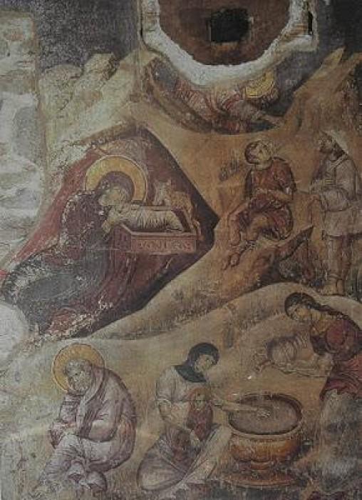 Протат. Храм Успения Пресвятой Богородицы. Фреска, 13 в.