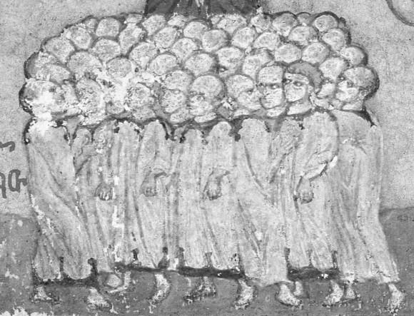Вифлеемские младенцы. Афон, Иверский монастырь. Конец XV в. C 1913 года в Российской Публичной (ныне Национальной) библиотеке в Санкт-Петербурге