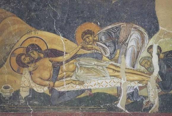 Оплакивание Христа. 1194 г., церковь св. Пантелеимона в Нерези
