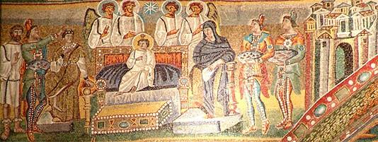 Поклонение волхвов. Мозаика арка базилики Санта Мария Маджоре. 432-440 г. Рим. Фрагмент