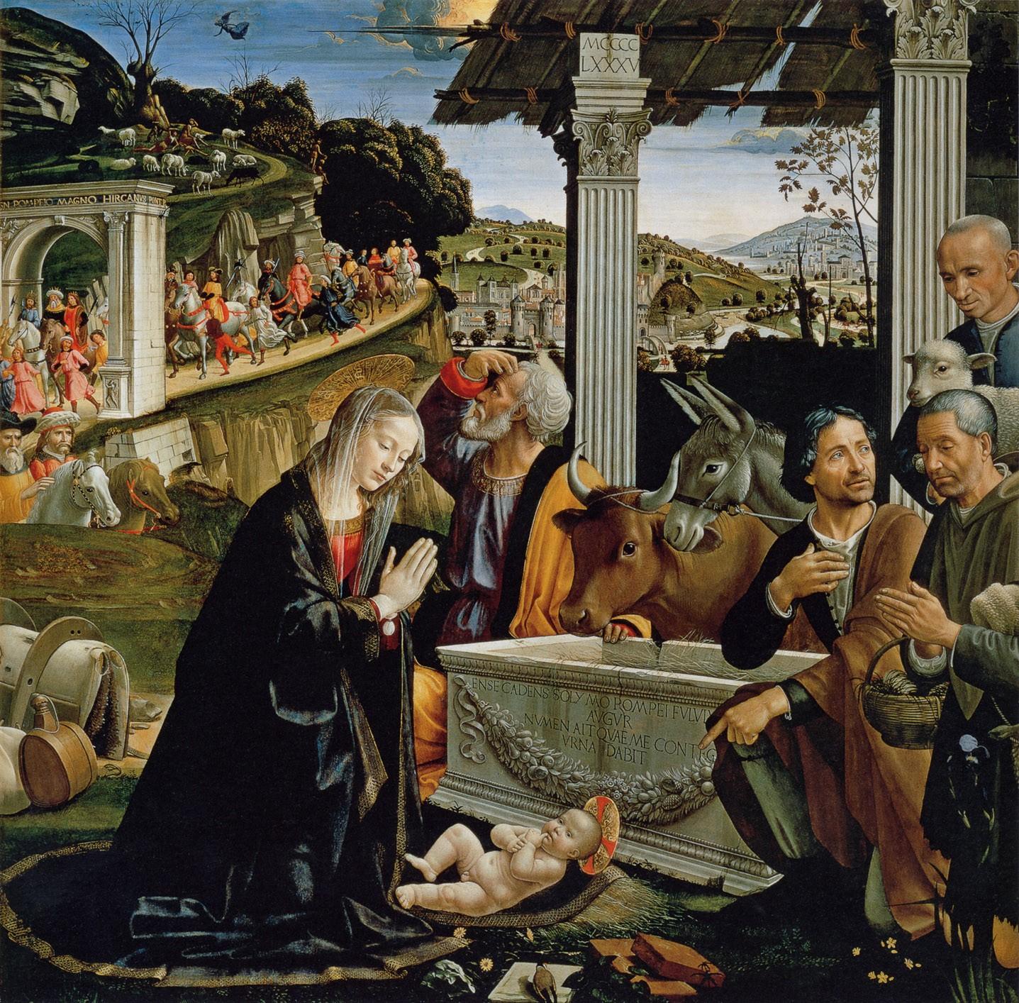 Доменико Гирландайо. Поклонение пастухов. 1485г. Капелла Сассети церкви Санта Тринита, Флоренция, Италия