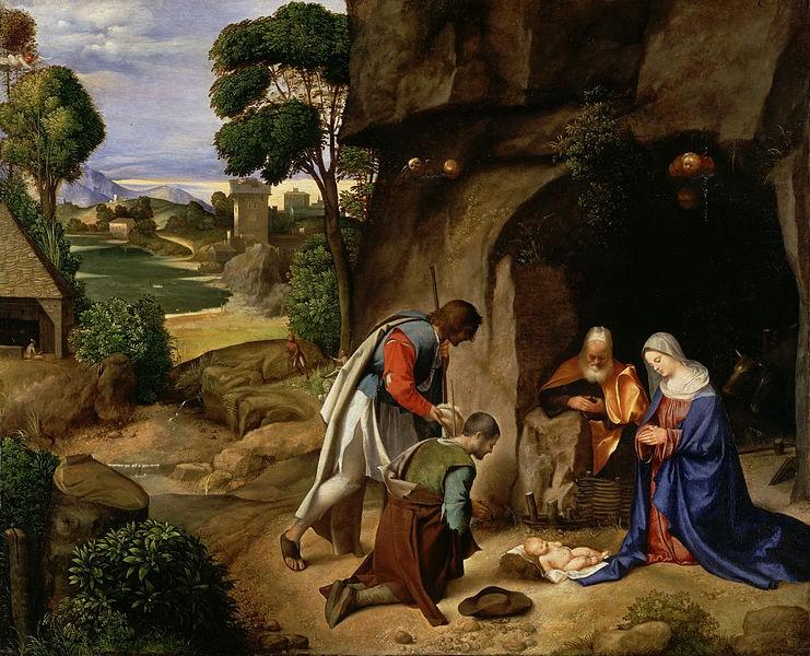 Джорджоне. Поклонение пастухов. 1500-1505 г. Национальная картинная галерея, Вашингтон, США
