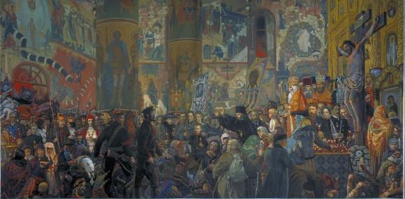 Илья Глазунов. Комиссары врываются в церковь.