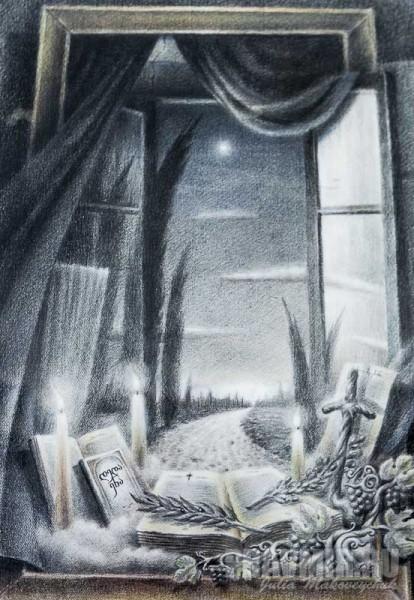 Михаил Демчинский. Сквозь окно. 2012, Смешанная техника, бумага