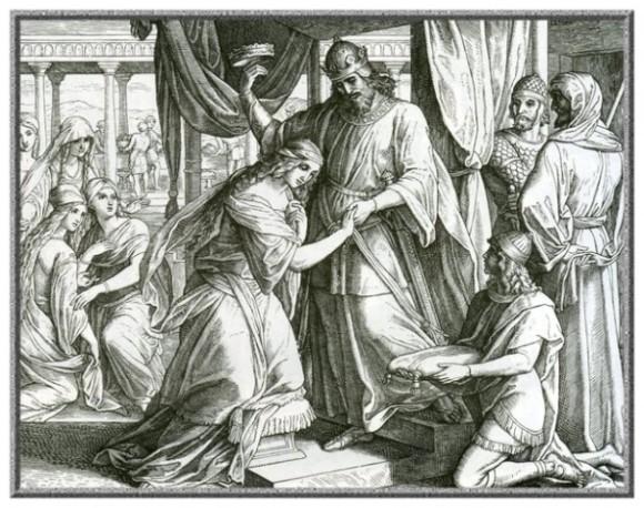 Юлиус Шнорр фон Карольсфельд. Эсфирь становится царицей. Гравюра.