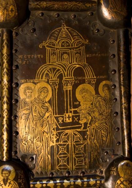 Васильевские врата новгородского собора Св. Софии. 1336 г. Собор Александровского Успенского монастыря. Фрагмент