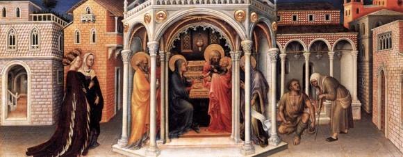 Джентиле да Фабриано. Принесение во храм. Из капеллы Строцци в ц. Санта-Тринита во Флоренции.1423 г. Лувр, Париж, Франция