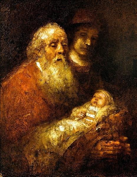Рембрандт Харменс ван Рейн. Старец Симеон во храме. 1669 г. Стокгольм. Национальный Музей, Стокгольм, Швеция