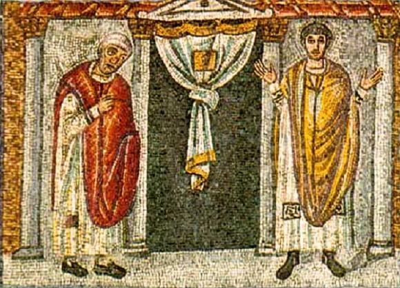 Притча о мытаре и фарисее. Мозаика Равенны (Италия).