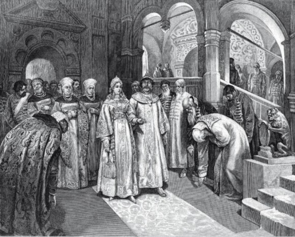 Василий III вводит во дворец невесту Елену Глинскую, за брак с которой и за развод с первой супругой обличал царя Максим Грек