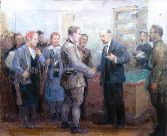 Встреча Ленина с рабочей дружиной.