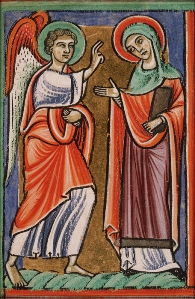 Благовещение. Французская миниатюра конца XIII века