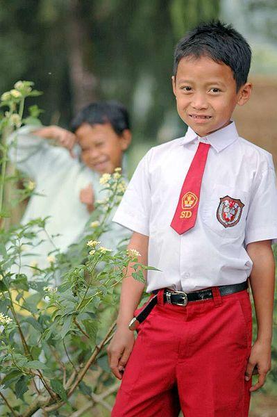 Ученик начальной школы в Индонезии