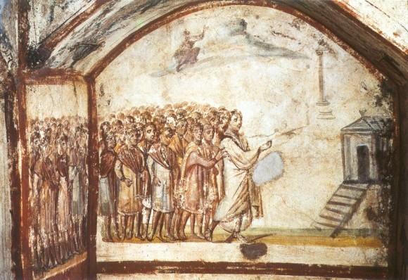 Фреска катакомб на Виа Латина(Catacomba di Dino Compagni). IV в. Рим