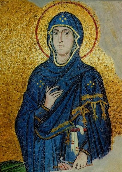Богородица из композиции «Благовещение». Мозаика ц. Успения в Дафни. Около 1100г. Греция