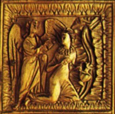 Благовещение у источника. 2-ая пол. V в. Сокровищница Дуомо, Милан. Фрагмент