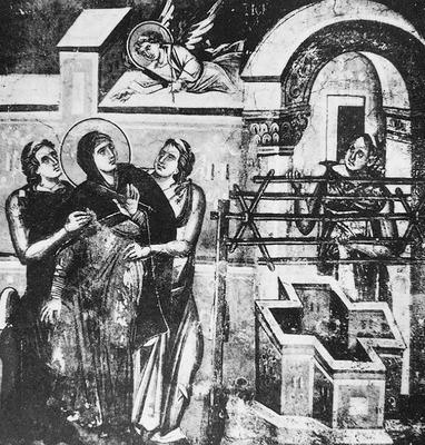 Благовещение у кладезя. Фреска ц. Перивлепты в Охриде. 1295 г. Македония