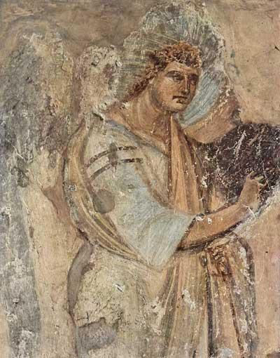 Архангел Гавриил. Фрагмент фрески церкви Санта Мария Антиква. Середина VII в. Рим