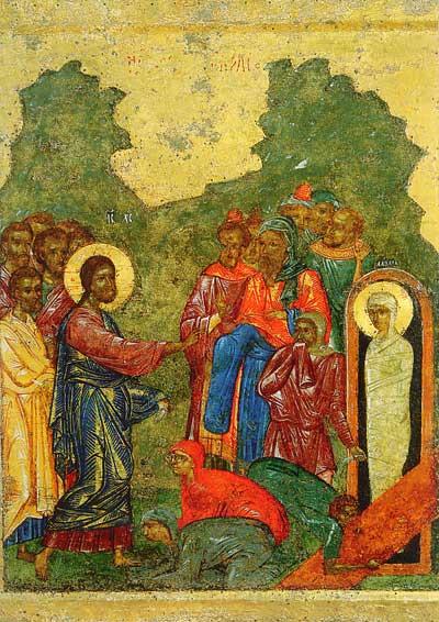 Икона из праздничного чина иконостаса новгородского Софийского Собора. Ок.1341г. Фрагмент