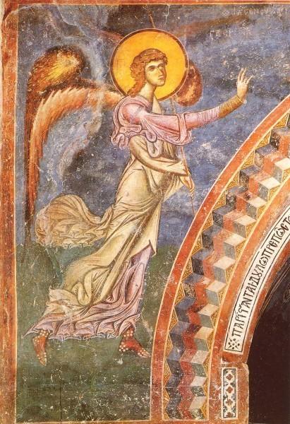 Архангел из композиции «Благовещение». Фреска церкви св.Георгия в Курбиново. 1191г. Македония