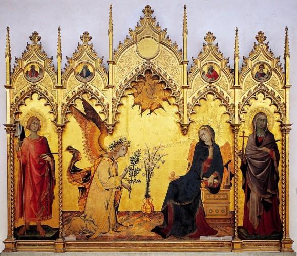 Симоне Мартини. Благовещение с двумя святыми. 1333 г. Галерея Уффици, Флоренция