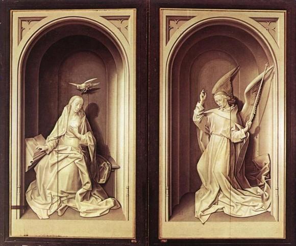 Гуго ван дер Гус. Алтарь Портинари. Вид в закрытом положении. Ок.1475 г. Галерея Уффици, Флоренция