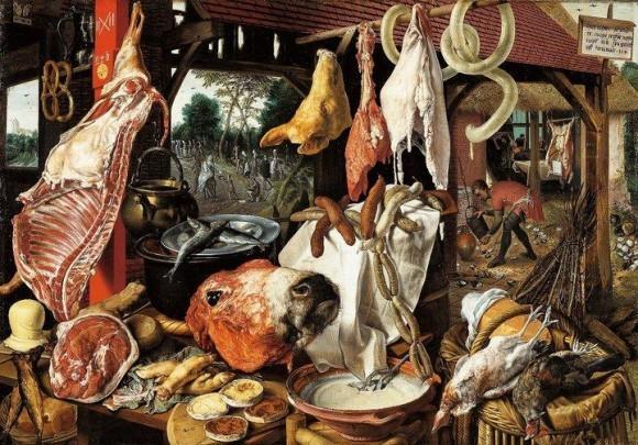 Pieter Aertsen. Speisekammer mit Maria, Almosen verteilend - 1551