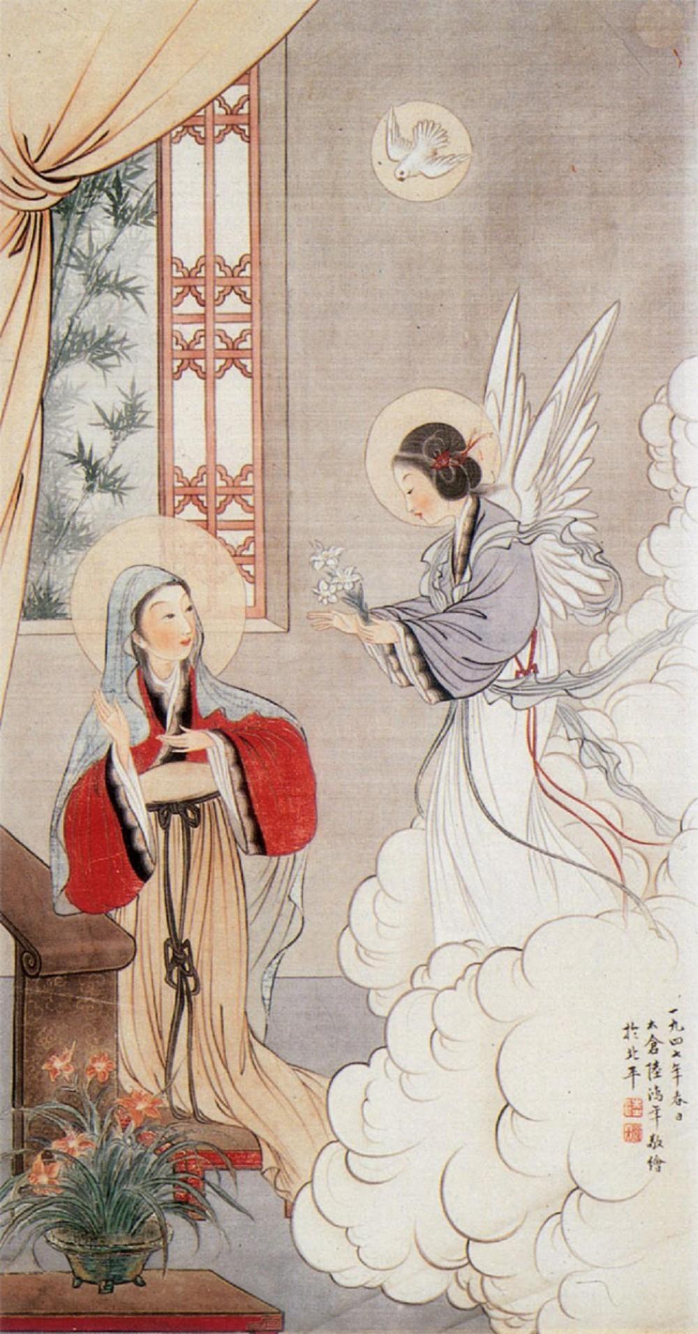 Religion blessed virgin mary on pinterest mother mary for Chinese mural art