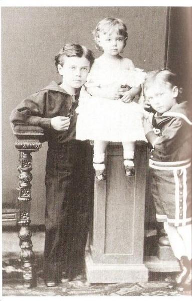 Николай, Геогий, Ксения. 1877 г.