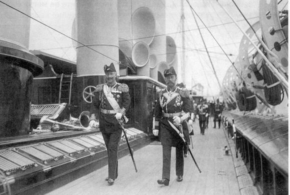 Кайзер Вильгельм II и император Николай II на палубе яхты «Штандарт». Июль 1907