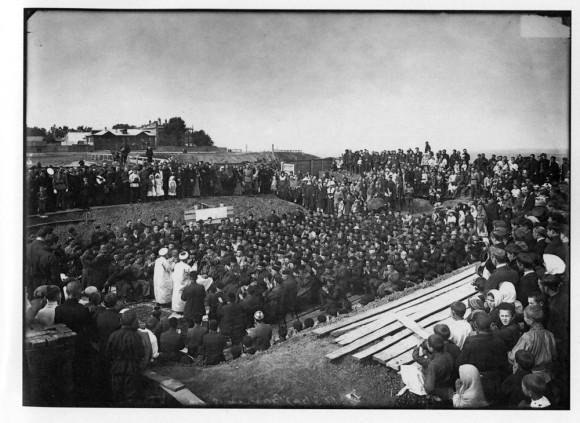 Закладка городской соборной мечети в Нижнем Новгороде. 1902 г. Негатив 18х24 см