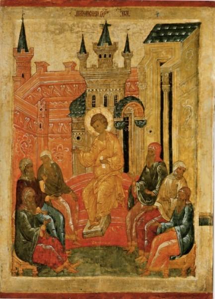Преполовение Пятидесятницы, псковская икона, XVI в.