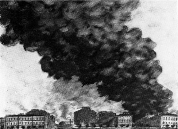 Рисунки из «Ленинградского альбома» архитектора А.С. Никольского: Пожар Бадаевских складов
