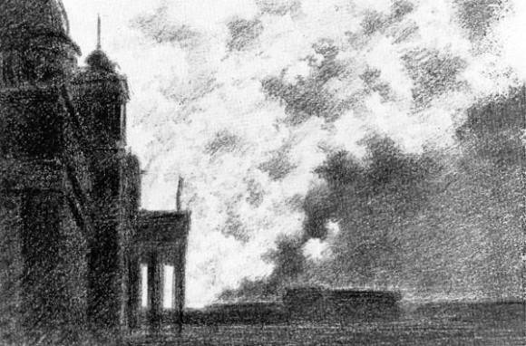 Рисунки из «Ленинградского альбома» архитектора А.С. Никольского: Пожар американских гор