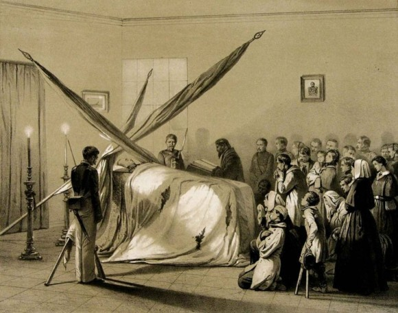 Похороны П.С. Нахимова. Литография с рисунка Н. Берга.