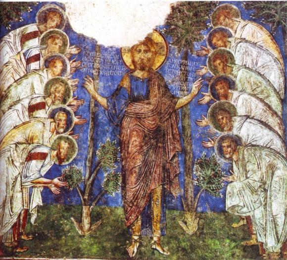 Иисус Христос и 12 апостолов (фреска XII века, Каппадокия)