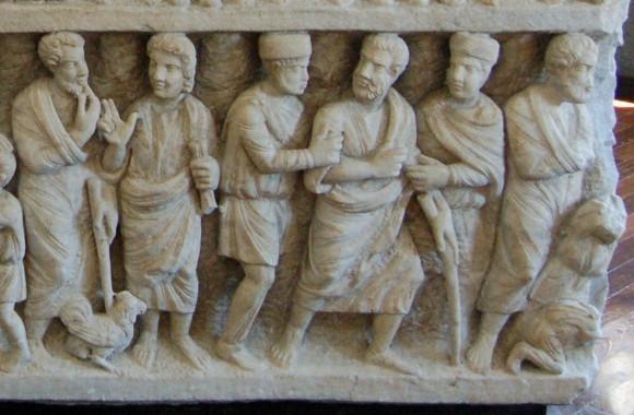 Сцены из жития ап.Петра. Саркофаг «Двух Заветов» или «догматический». 325-350 г. Музеи Ватикана