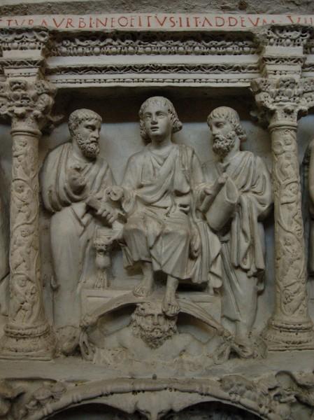 Христос вручает ключи и Закон апостолам. Саркофаг Юния Басса. Ок. 359 г. Музеи Ватикана. Фрагмент