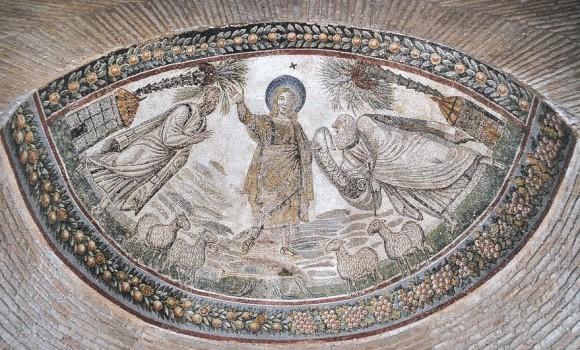Христос вручает Закон ап. Петру и Павлу Мозаика мавзолея Санта Констанца. Конец IV в. Рим