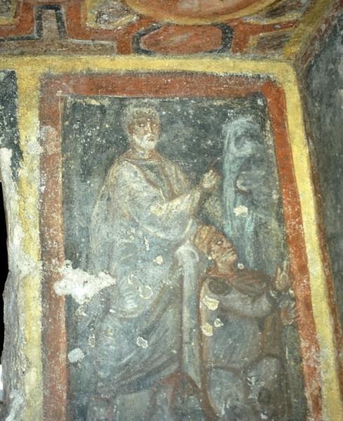 Изведение источника воды в Мамертинской темнице. Фреска в катакомбах св.Феклы. 2-ая пол. IV — 1-ая пол. V в. Рим