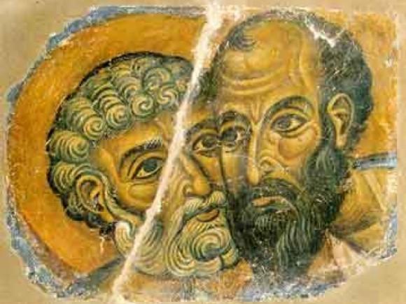 Сохранившийся фрагмент фрески монастыря Ватопед. Конец XII в. Афон, Греция